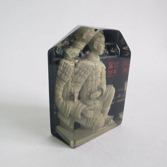 Ancient Asian Warrior In Crystal Cube